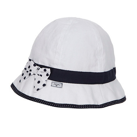 J by Jasper Conran - Designer babies white spotted bow bucket hat