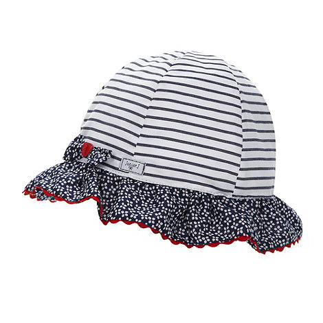 J by Jasper Conran - Designer babies white striped bow detail bucket hat