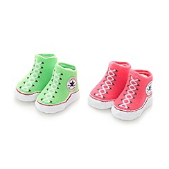 Converse - Babies pack of two pink and green bootie socks