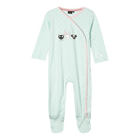 Star by Julien Macdonald - Designer babies light green animal face print sleepsuit