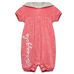 Pineapple - Babies pink towelling romper suit