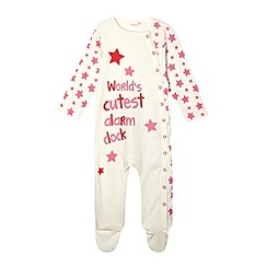 bluezoo - Babies cream 'Cutest alarm clock' sleepsuit