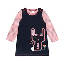 bluezoo - Babies navy applique rabbit pinafore and top set