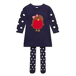 bluezoo - Babies navy knitted Christmas robin dress and tights set