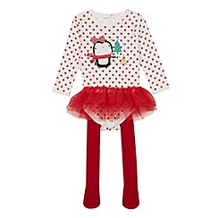 bluezoo - Babies red applique Christmas penguin tutu bodysuit and tights set