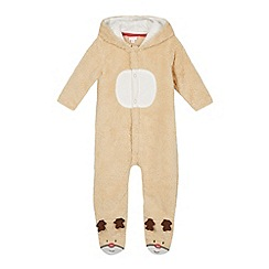 bluezoo - Girl's light tan reindeer onesie