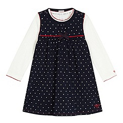 J by Jasper Conran - Designer babies navy spotted pinafore and top set