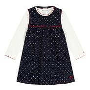 Designer babies navy spotted pinafore and top set