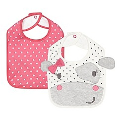 bluezoo - Pack of two babies pink cow and heart patterned bibs