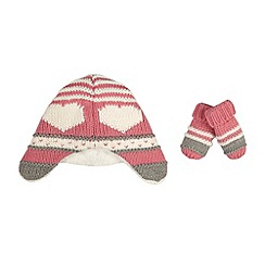 bluezoo - Girl's pink heart patterned hat and mittens set