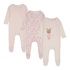 bluezoo - Pack of three babies pink striped floral mouse sleepsuits