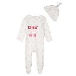 bluezoo - Babies pink 'Cutest Baby' polka dot sleep suit and hat