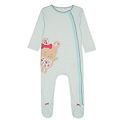 bluezoo - Babies light green ditsy mouse sleepsuit