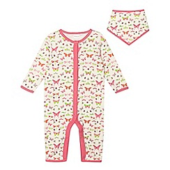 bluezoo - Babies pink butterfly printed sleepsuit and bib set