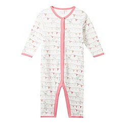 bluezoo - Babies light cream bunting print sleep suit