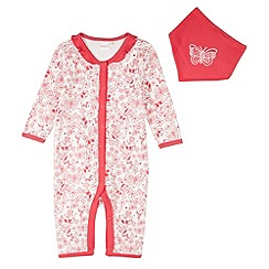 bluezoo - Babies pink doodle print sleep suit and bib