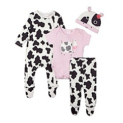bluezoo - Babies white cow print leggings, hat, body suit and sleep suit set