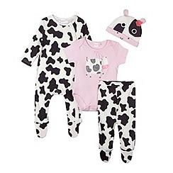 bluezoo - Babies white cow print leggings, hat, body suit and sleep suit set
