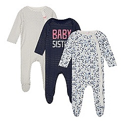 bluezoo - Set of three babies navy spotted and floral sleepsuits in gift bag