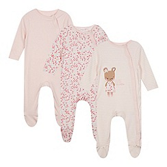 bluezoo - Set of three babies pink floral and bunny printed sleepsuits