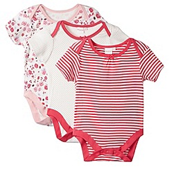 bluezoo - Set of three babies pink floral striped ladybird sleep suits