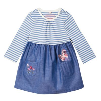 bluezoo Babies blue chambray mix dress - . -