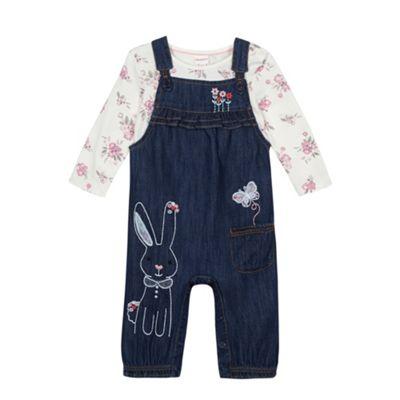 bluezoo Babies blue rabbit dungarees and top set - . -