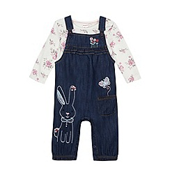 bluezoo - Babies blue rabbit dungarees and top set