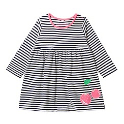 bluezoo - Babies navy striped cherry applique jersey dress