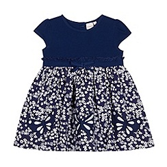 bluezoo - Babies navy ditsy frill butterfly dress