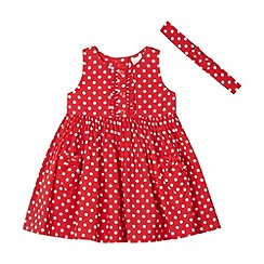 bluezoo - Girl's red polka dot frill dress and headband