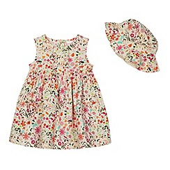 bluezoo - Babies cream floral dress and hat set