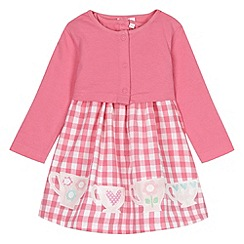 bluezoo - Babies pink gingham dress and cardigan set