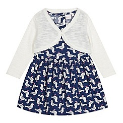 bluezoo - Babies navy seagulls dress and cardigan set