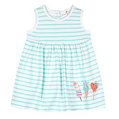 bluezoo - Babies green striped ice cream applique dress
