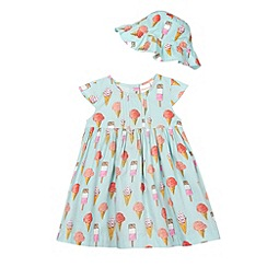 bluezoo - Girl's aqua ice cream pleated dress and hat