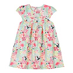 bluezoo - Babies pink jungle print frill detail dress