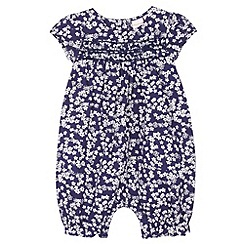 bluezoo - Babies navy ditsy floral romper suit