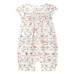 bluezoo - Babies white bird print romper suit