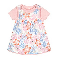bluezoo - Babies pink floral pinafore and t-shirt set