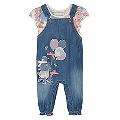 bluezoo - Babies blue applique mouse dungarees and t-shirt set