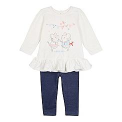 bluezoo - Babies white mouse tunic and leggings set