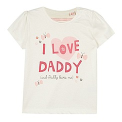 bluezoo - Girl's off white 'I Love Daddy' slogan t-shirt