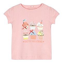 bluezoo - Babies pink cupcake print t-shirt