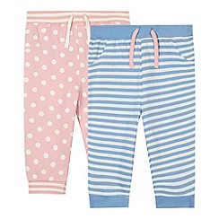 bluezoo - Pack of two babies pink printed joggers