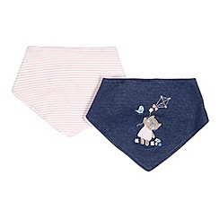 bluezoo - Pack of two babies blue cat dribble bibs