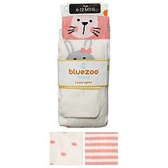 bluezoo - Pack of two babies cream striped and spotted animal tights