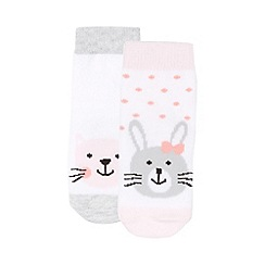 bluezoo - Babies set of two white boxed animal socks