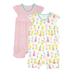 bluezoo - Pack of two babies white striped and pear printed romper suits