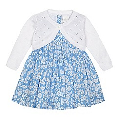 J by Jasper Conran - Designer babies blue ditsy floral dress and cardigan set
